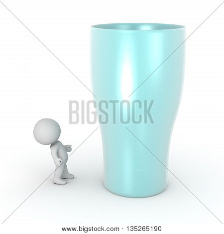 3D character looking up at a large glass. Isolated on white background.