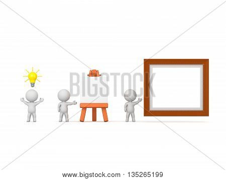 Three 3D characters. One with a light bulb idea another with an easel and one with an art frame. Isolated on white background.