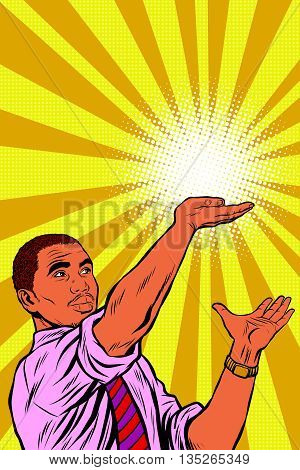 African businessman or politician hand of hope pop art retro vector. The sun on his open palm