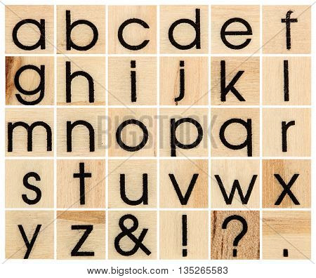 English alphabet lowercase collage of isolated wood letterpress printing blocks