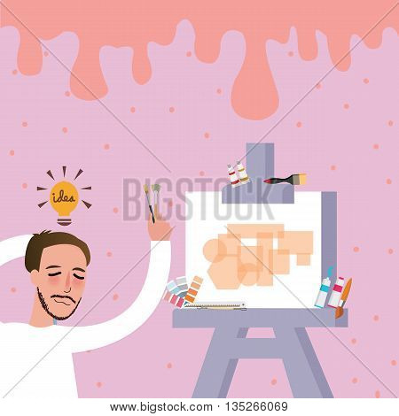 artist painting try to find ideas for his art oil on canvas vector
