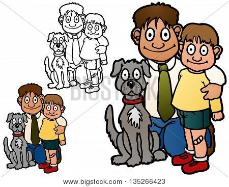 Father, son, and their dog, family group