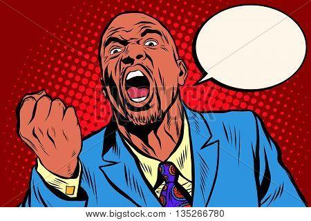Emotional strong black man with a fist, an African American businessman pop art retro vector