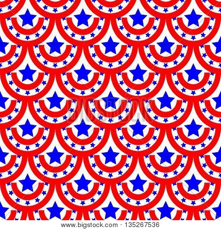 Half-round and star seamless pattern. American patriotic stars and rounds image in bright red blue and white. Template for prints textiles wrapping wallpaper website etc Stock vector illustration