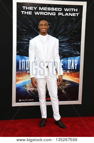 Jessie Usher at the Los Angeles premiere of 'Independence Day: Resurgence' held at the TCL Chinese Theatre in Hollywood, USA on June 20, 2016.