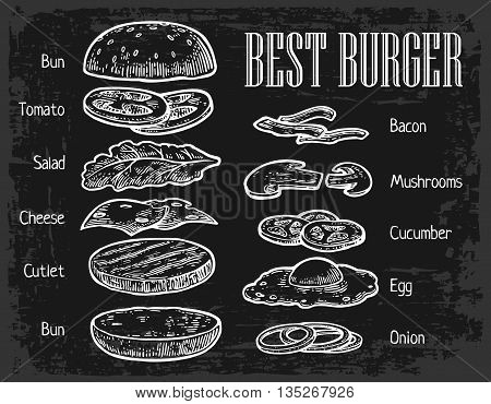 Burger ingredients on chalkboard. Isolated painted components on black background. Vector vintage engraving Illustration for poster menu web banner info graphic