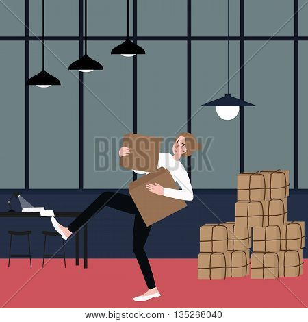 woman almost fall holding bring cardboard box with pile of stacking package behind vector