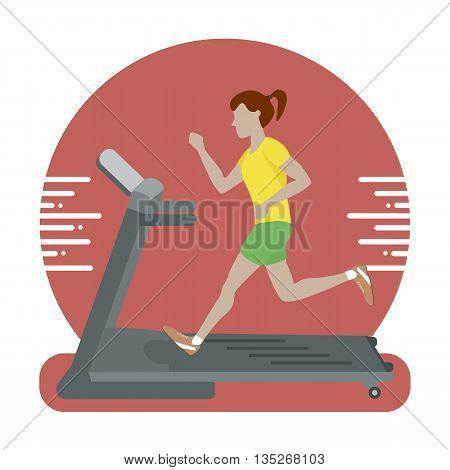 Woman running on treadmill. Vector illustration flat design