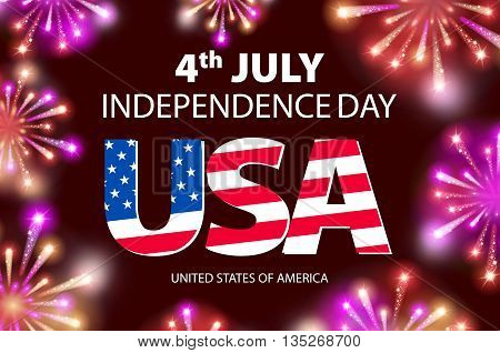 Vector Fireworks Background For 4Th Of July Independense Day. Fourth Of July Independence Day Card.