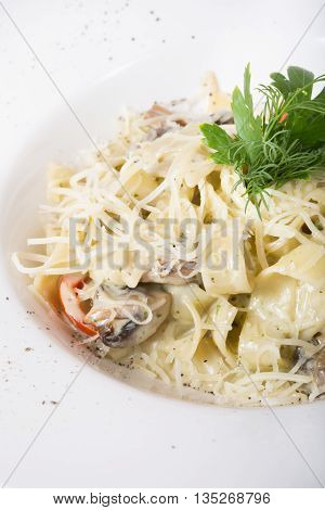 Pasta with mushrooms served on a white plate