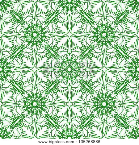 Seamless Texture on Green. Element for Design. Ornamental Backdrop. Pattern Fill. Ornate Floral Decor