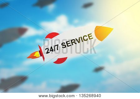 group of 24 hours a day 7 days a week service flat design rocket with blurred background and soft light effect