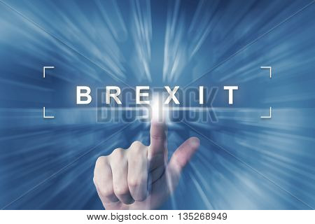 hand clicking on brexit or british button with zoom effect background