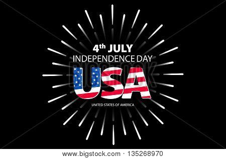 Independence Day Concept. 4Th July Independence Day With Fireworks Background. Vector