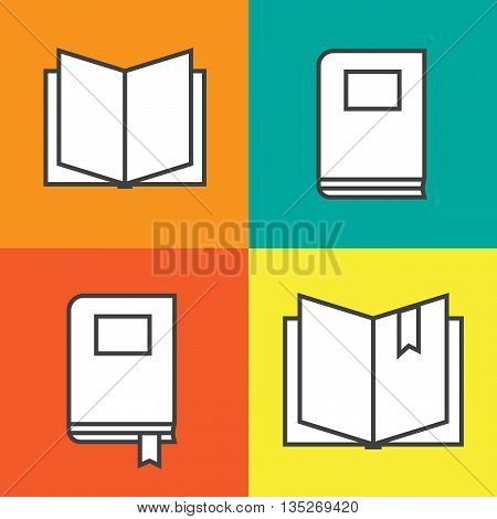 Book icons in colored flat line style eps10
