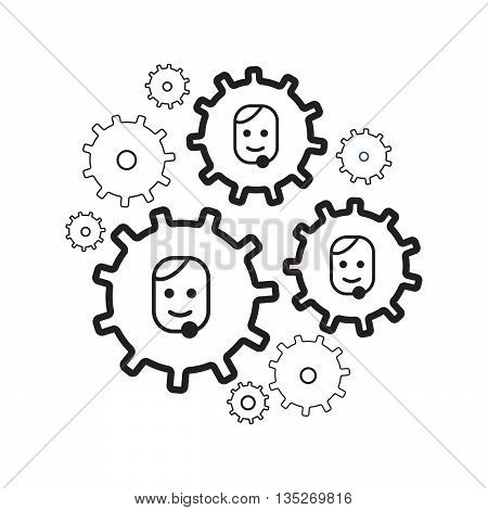 User profile line icons and people gears interaction eps10