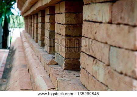 Closed up of Graffiti brick wall in Thailand