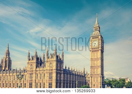 Big Ben Clock Tower and House of Parliament London England UK vintage style effect