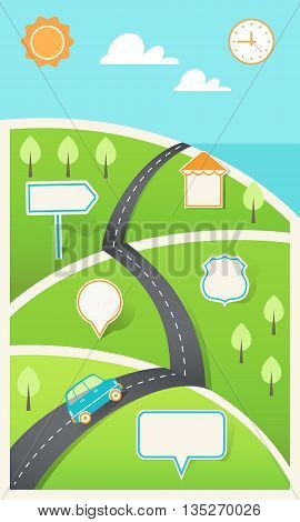 Road and Hills with Signs. Travel, Holiday, Road Map Infographic Template