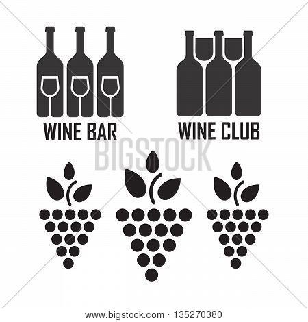 Wine black icons on white background set eps10