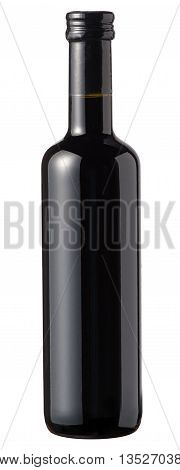 Isolated Small Unlabelled Bottle Of Red Wine