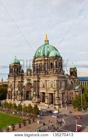 BERLIN GERMANY - SEPTEMBER 23 2012: Beautiful day view of Berlin Cathedral (Berliner Dom). Berlin cathedral the biggest Protestant church of Germany