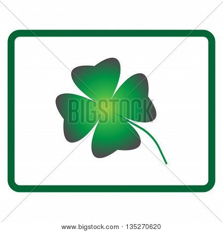 Sign clover. Four leaf symbol. Lucky mark. Beauty design style. Green icon isolated on white background. Colorfull element in frame. Good day image. Logo for happiness. Stock vector illustration