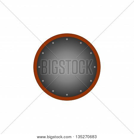 Sign shield silver. Protection icon isolated on white background. Mark with volume effect. Symbol of a steel guard. Monochrome element. Round logo for military and security. Stock vector illustration