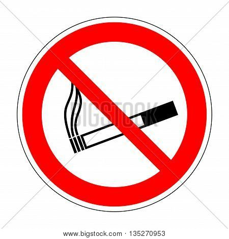 Sign no smoking. No smoke red prohibition plane icon isolated on white background. Stop cigarette label print. Forbidden tobacco image. Not allowed smoker flat symbol. Stock vector illustration