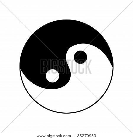 Sign yin and yang. Monochrome symbol of balance. Plane mark isolated on white background. Asian icon of harmony. Image concept of daoism. Stock vector illustration