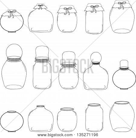 Jars set, jar with bow, silhouettes vector illustration