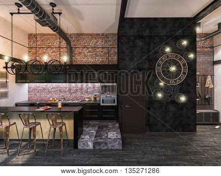 3d illustration of interior design loft style. The concept of commercial interiors