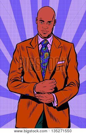 Retro African American businessman in elegant suit pop art retro vector. Bald man