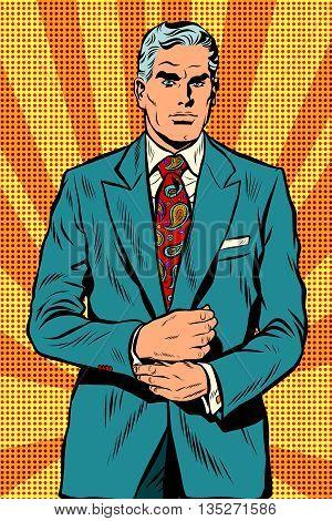 Retro businessman boss gray hair pop art retro vector. Vintage male. Serious facial expression