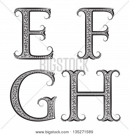 E F G H vintage patterned letters. Font in floral baroque style.
