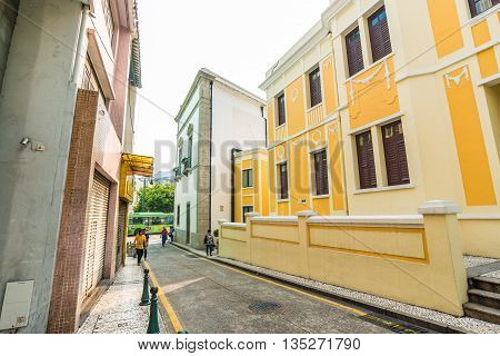 MACAU CHINA - OCTOBER 22: China Macau city landscape with visitors in Macau on October 22 2015. Macau is a popular tourist attraction of Asia in the holidays.