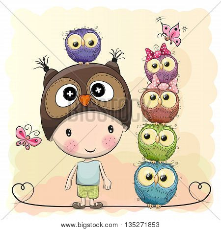 Cute Cartoon Boy in a owl hat and five Owls