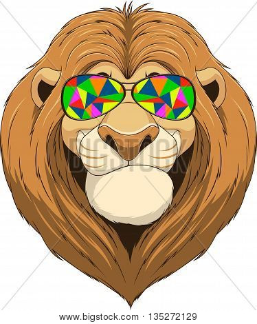 Vector illustration, friendly funny lion smiling and wears colored glasses