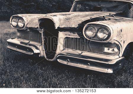 Old Classic Junk Car In A Field