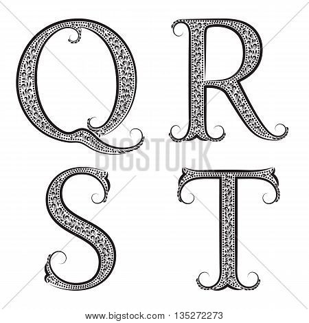 Q R S T vintage patterned letters. Font in floral baroque style.