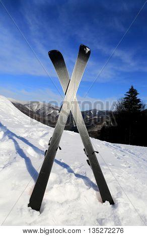 mountain's ski on snow in winter resort