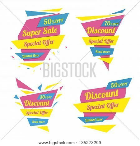 Discount sticker. Special offer vector isolated. Promotion sticker. Sale limited offer sticker. Advertisement tag. Sale poster. Vector illustration. Sale background