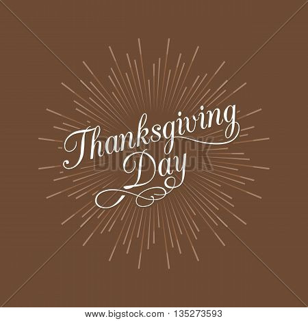 Thanksgiving day calligraphic handwriting lettering and star burst