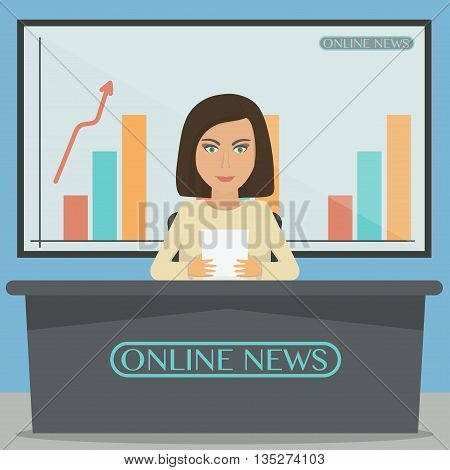Anchorman, news announcer in the studio. Vector illustration.