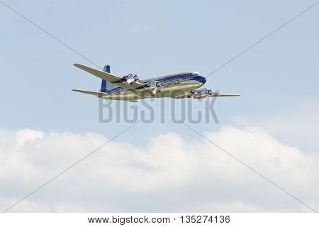 Germany, Berlin Schönefeld, June 3. 2016.;  Douglas DC-6B Red Bull during the ILA in Berlin Schönefeld