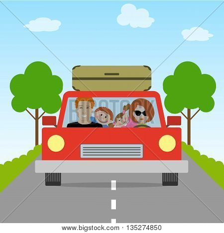 Family goes on vacation. Vector illustration. There is a mother and a father with children in a car on the picture