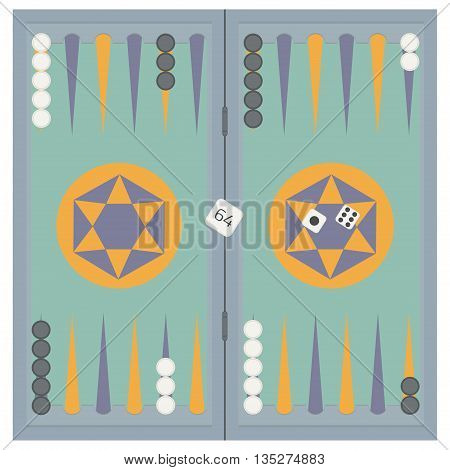 Backgammon on the wooden box, three dice and chips. Vector illustration.