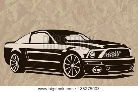 Muscle Car Abstract Sketch Old School 1