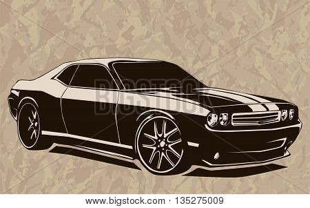 Muscle Car Abstract Sketch Old School 2