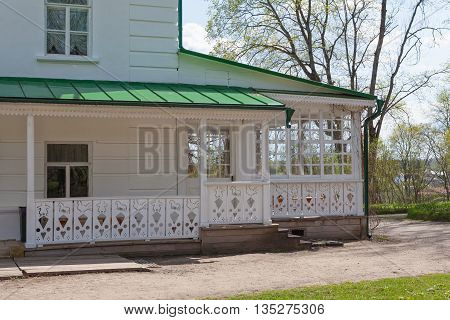 Tula, Russia - May 1, 2016: White wooden veranda of the house of Leo Tolstoy in Yasnaya Polyana.